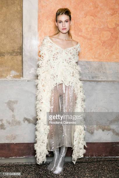 A model is seen backstage ahead of the Alberto Zambelli show at Milan Fashion Week Autumn/Winter 2019/20 on February 20 2019 in Milan Italy