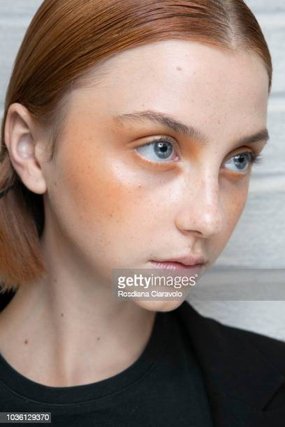 A model is seen backstage ahead of the Alberto Zambelli show during Milan Fashion Week Spring/Summer 2019 on September 19 2018 in Milan Italy