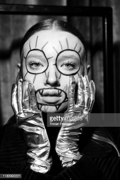 A model is seen backstage ahead of the Alexandra Moura show at Milan Fashion Week Autumn/Winter 2019/20 on February 25 2019 in Milan Italy