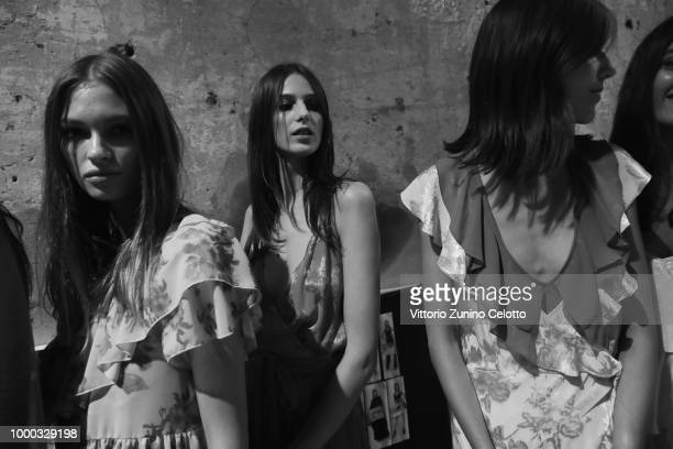 A model is seen backstage ahead of the Aniye By Fashion Show SS19 on July 16 2018 in Milan Italy
