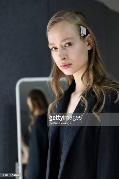 A model is seen backstage ahead of the Anteprima show at Milan Fashion Week Autumn/Winter 2019/20 on February 21 2019 in Milan Italy