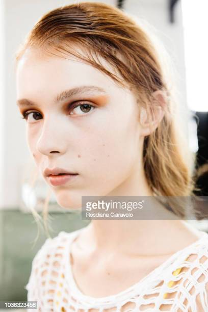 A model is seen backstage ahead of the Arthur Arbesser show during Milan Fashion Week Spring/Summer 2019 on September 19 2018 in Milan Italy