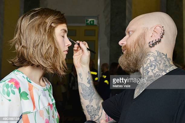 A model is seen backstage ahead of the Arthur Arbesser show during Milan Fashion Week Spring/Summer 2016 on September 28 2015 in Milan Italy