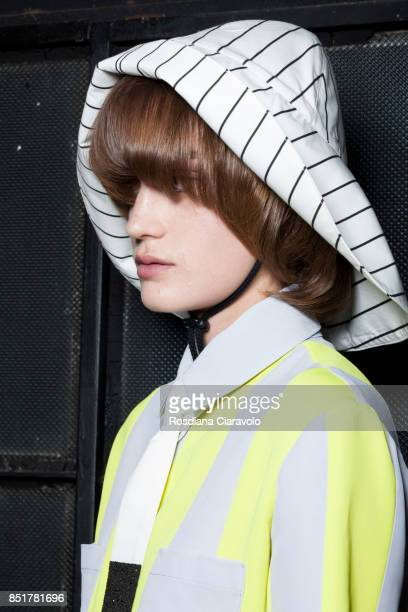 A model is seen backstage ahead of the Arthur Arbesser show during Milan Fashion Week Spring/Summer 2018on September 21 2017 in Milan Italy