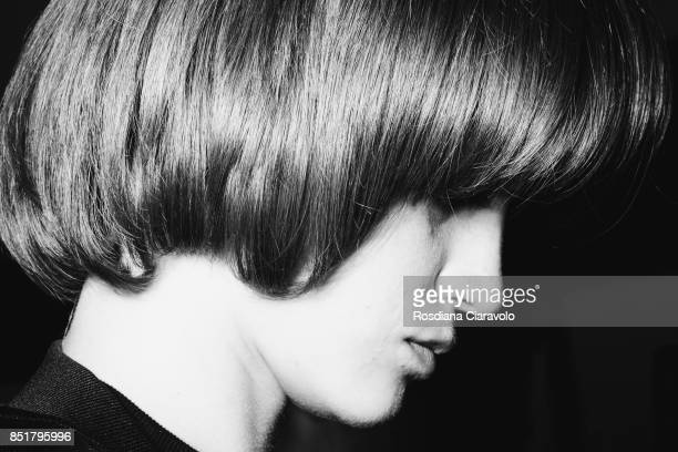 A model is seen backstage ahead of the Arthur Arbesser show during Milan Fashion Week Spring/Summer 2018 on September 21 2017 in Milan Italy