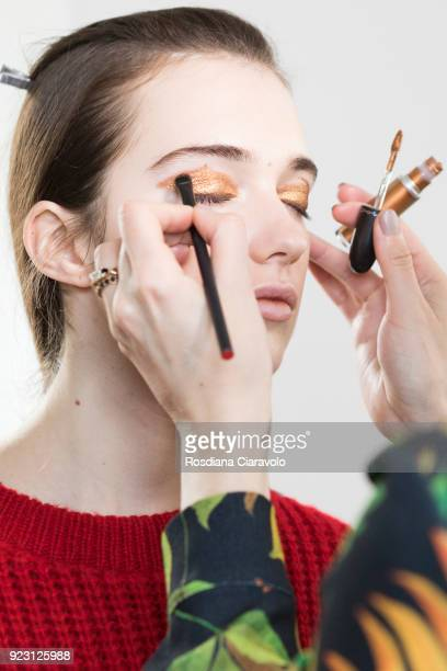 A model is seen backstage ahead of the Arthur Arbesser show during Milan Fashion Week Fall/Winter 2018/19 on February 21 2018 in Milan Italy