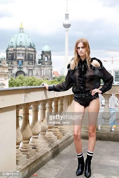 A model is seen backstage ahead of the Augustin Teboul defilee during the Der Berliner Mode Salon Spring/Summer 2017 at Kronprinzenpalais on June 30...