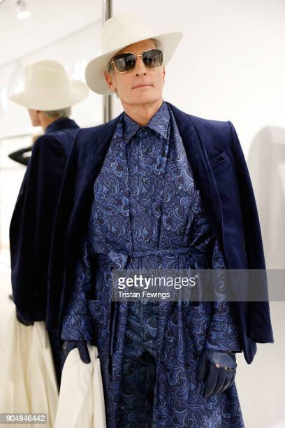 A model is seen backstage ahead of the Billionaire show during Men's Fashion Week Fall/Winter 2018/19 on January 14 2018 in Milan Italy