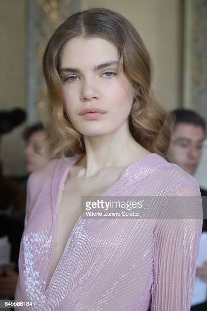 A model is seen backstage ahead of the Blumarine show during Milan Fashion Week Fall/Winter 2017/18 on February 25 2017 in Milan Italy