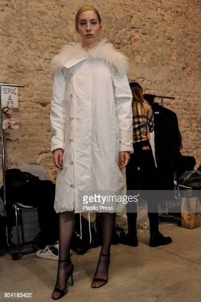 Model is seen backstage ahead of the Brognano show during Milan Fashion Week Autumn/Winter 2019