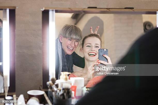 A model is seen backstage ahead of the By Malene Birger show during the Copenhagen Fashion Week Autumn/Winter 2016 on February 4 2016 in Copenhagen...