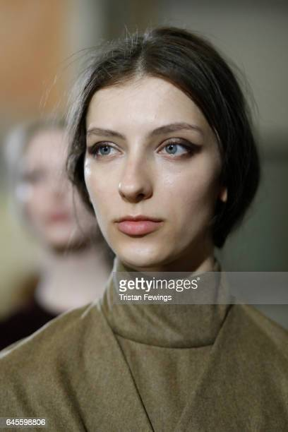 A model is seen backstage ahead of the Calcaterra show during Milan Fashion Week Fall/Winter 2017/18 on February 26 2017 in Milan Italy