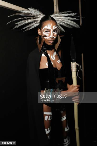 A model is seen backstage ahead of the Ceren Ocak show during MercedesBenz Istanbul Fashion Week March 2017 at Grand Pera on March 22 2017 in...