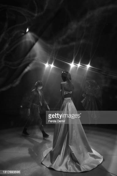 Model is seen backstage ahead of the Cihan Nacar Lookbook for Istanbul Fashion Week on April 15, 2021 in Istanbul, Turkey.
