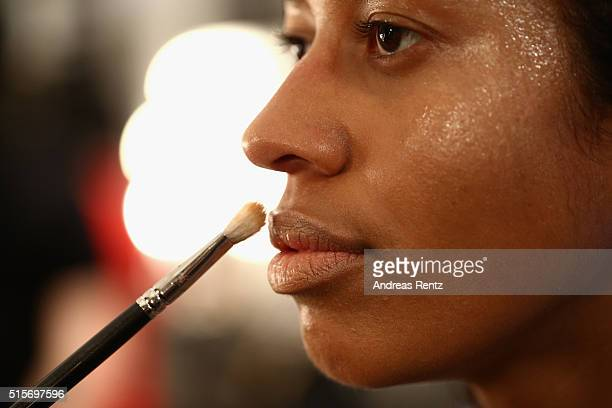 Model is seen backstage ahead of the Cihan Nacar show during the Mercedes-Benz Fashion Week Istanbul Autumn/Winter 2016 at Zorlu Center on March 15,...