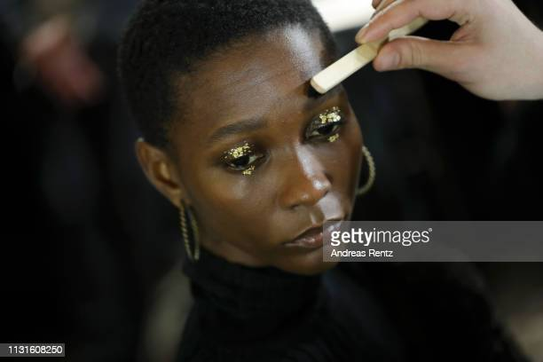 A model is seen backstage ahead of the Cividini show at Milan Fashion Week Autumn/Winter 2019/20 on February 23 2019 in Milan Italy