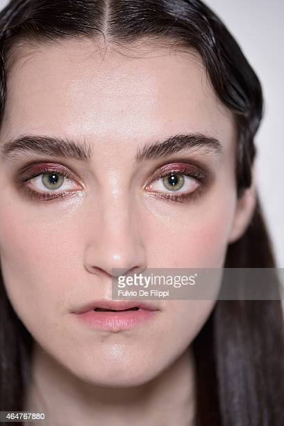 A model is seen backstage ahead of the Cividini show during the Milan Fashion Week Autumn/Winter 2015 on February 28 2015 in Milan Italy