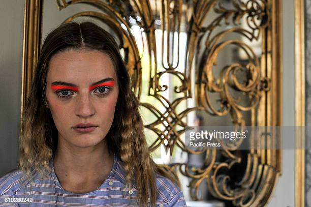 A model is seen backstage ahead of the Cividini show Milan Fashion week Spring/Summer 2017