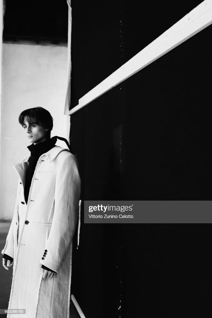 A model is seen backstage ahead of the Concept Korea: Beyond Closet e Bmuet(te) show during the 93. Pitti Immagine Uomo at Fortezza Da Basso on January 10, 2018 in Florence, Italy.