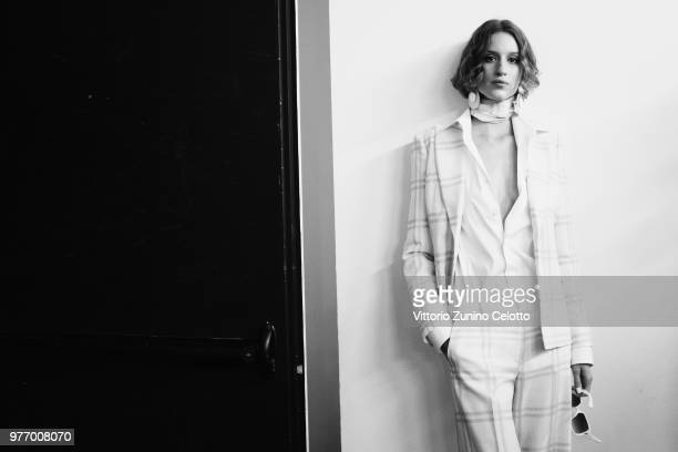 A model is seen backstage ahead of the Daks show during Milan Men's Fashion Week Spring/Summer 2019 on June 17 2018 in Milan Italy