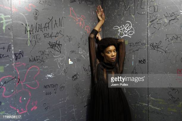Model is seen backstage ahead of the Danny Reinke show during Berlin Fashion Week Autumn/Winter 2020 at Kraftwerk Mitte on January 14, 2020 in...
