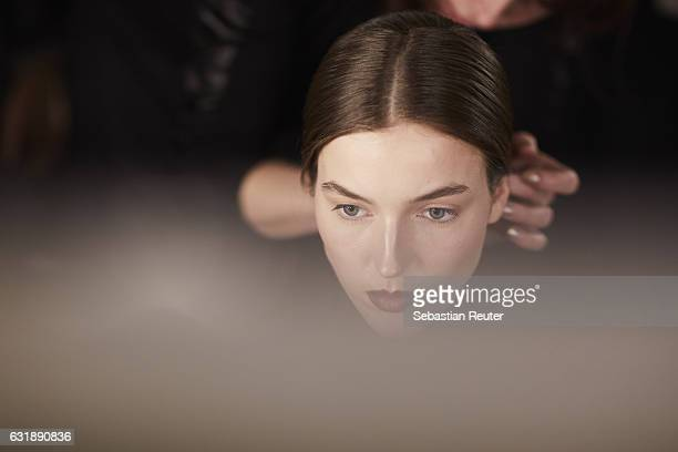 Model is seen backstage ahead of the Danny Reinke show during the Mercedes-Benz Fashion Week Berlin A/W 2017 at Stage at me Collectors Room on...