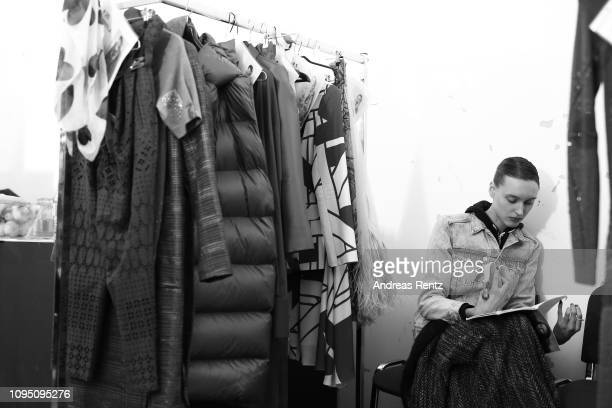 A model is seen backstage ahead of the Dawid Tomaszewski Defile during the Berlin Fashion Week Autumn/Winter 2019 on January 16 2019 in Berlin Germany
