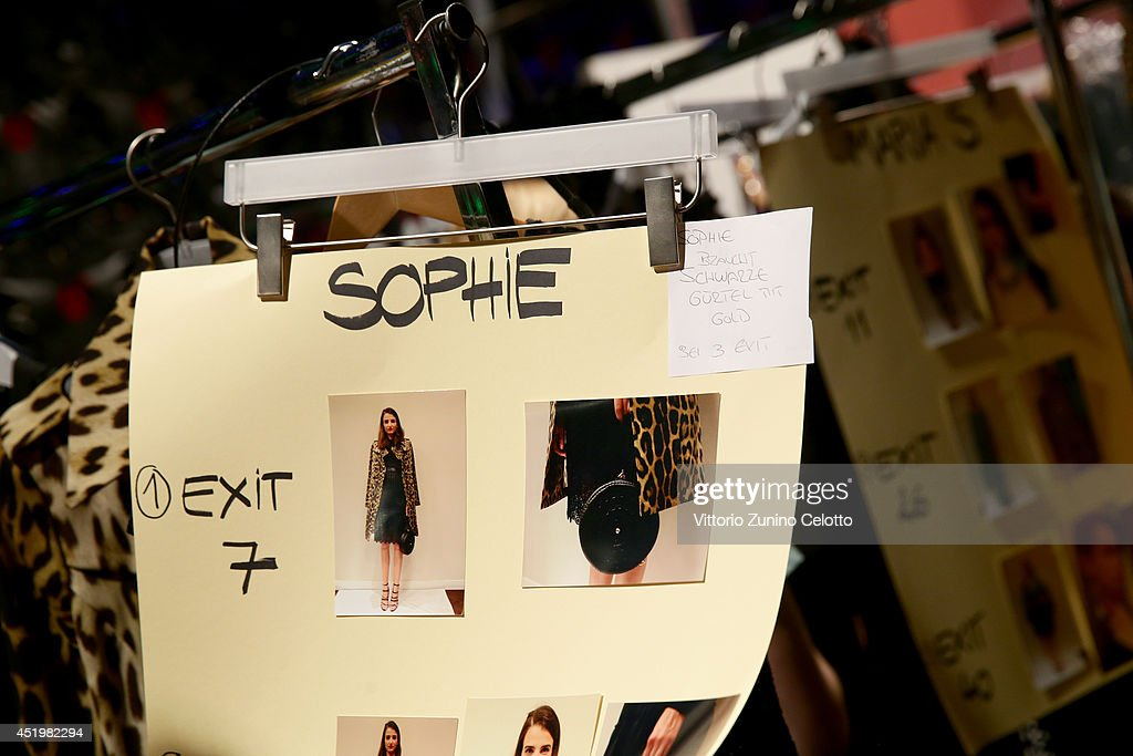A model is seen backstage ahead of the Dimitri show during the Mercedes-Benz Fashion Week Spring/Summer 2015 at Erika Hess Eisstadion on July 10, 2014 in Berlin, Germany.