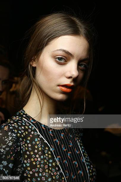 A model is seen backstage ahead of the Dorothee Schumacher in cooperation with Mastercard show during the MercedesBenz Fashion Week Berlin...