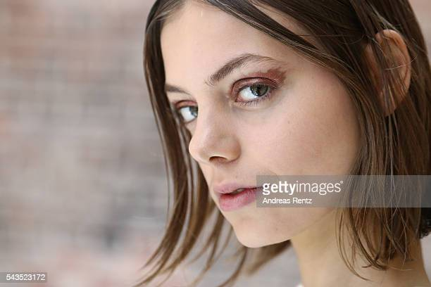 A model is seen backstage ahead of the Dorothee Schumacher show during the MercedesBenz Fashion Week Berlin Spring/Summer 2017 at Elisabethkirche on...