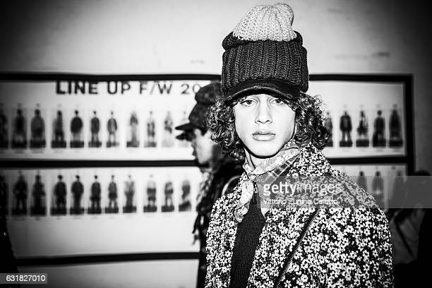 A model is seen backstage ahead of the Dsquared2 show during Milan Men's Fashion Week Fall/Winter 2017/18 on January 15 2017 in Milan Italy