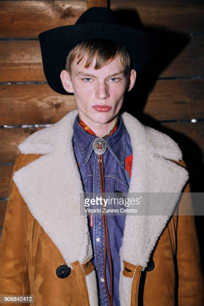Model is seen backstage ahead of the Dsquared2 show during Milan Men's Fashion Week Fall/Winter 2018/19 on January 14 2018 in Milan Italy