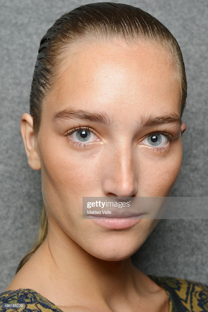 Model is seen backstage ahead of the DSquared2 show during Milan Fashion Week Spring/Summer 2016 on September 26, 2015 in Milan, Italy.