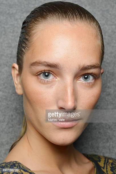 Model is seen backstage ahead of the DSquared2 show during Milan Fashion Week Spring/Summer 2016 on September 26 2015 in Milan Italy