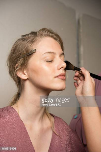 A model is seen backstage ahead of the Edeline Lee presentation during London Fashion Week September 2017 on September 17 2017 in London England