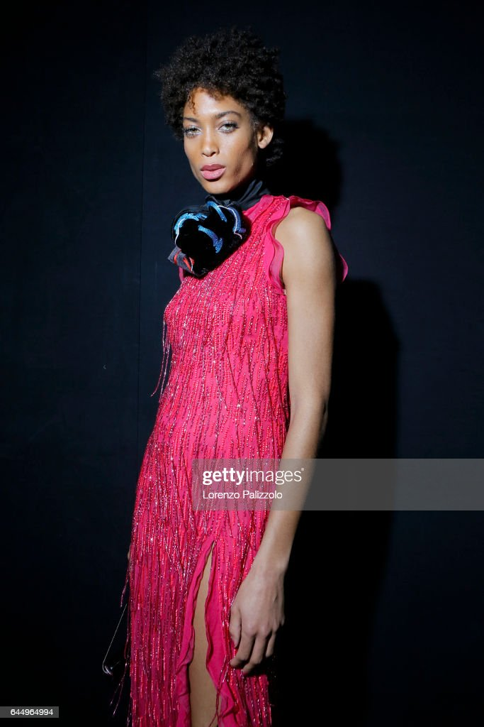A model is seen backstage ahead of the Emporio Armani show during Milan Fashion Week Fall/Winter 2017/18 on February 24, 2017 in Milan, Italy.
