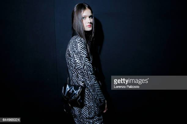 Model is seen backstage ahead of the Emporio Armani show during Milan Fashion Week Fall/Winter 2017/18 on February 24, 2017 in Milan, Italy.
