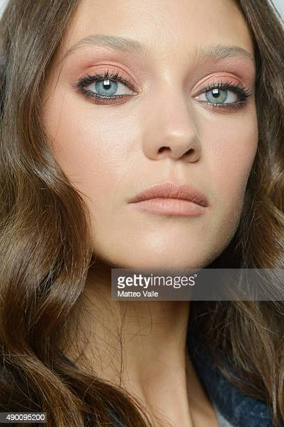 A model is seen backstage ahead of the Ermanno Scervino show during Milan Fashion Week Spring/Summer 2016 on September 26 2015 in Milan Italy