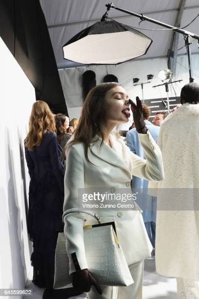 A model is seen backstage ahead of the Ermanno Scervino show during Milan Fashion Week Fall/Winter 2017/18 on February 25 2017 in Milan Italy