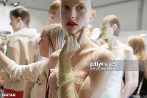 A model is seen backstage ahead of the Ermanno Scervino show during Milan Fashion Week Spring/Summer 2018on September 23 2017 in Milan Italy