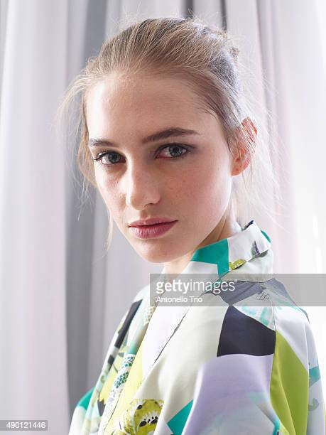Model is seen backstage ahead of the Etro show during Milan Fashion Week Spring/Summer 2016 on September 25 2015 in Milan Italy
