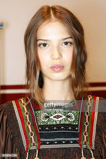 A model is seen backstage ahead of the Etro show during Milan Fashion Week Spring/Summer 2017 on September 23 2016 in Milan Italy