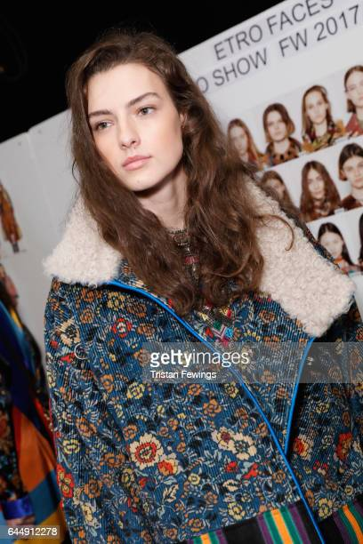 Model is seen backstage ahead of the Etro show during Milan Fashion Week Fall/Winter 2017/18 on February 24 2017 in Milan Italy