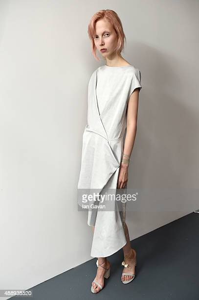 A model is seen backstage ahead of the Eudon Choi show during London Fashion Week Spring/Summer 2016 on September 18 2015 in London England