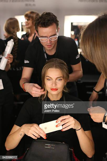 A model is seen backstage ahead of the Ewa Herzog show during the MercedesBenz Fashion Week Berlin Spring/Summer 2017 at Erika Hess Eisstadion on...
