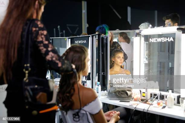 A model is seen backstage ahead of the Fashionyard show during Platform Fashion July 2017 at Areal Boehler on July 23 2017 in Duesseldorf Germany