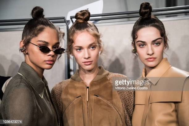 A model is seen backstage ahead of the Fendi show during Milan Fashion Week Spring/Summer 2019 on September 20 2018 in Milan Italy