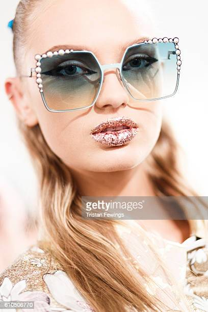 A model is seen backstage ahead of the Fendi show during Milan Fashion Week Spring/Summer 2017 on September 22 2016 in Milan Italy