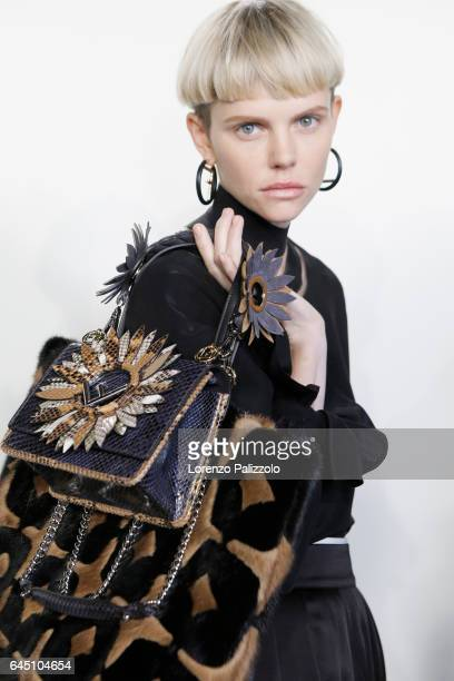 Model is seen backstage ahead of the Fendi show during Milan Fashion Week Fall/Winter 2017/18 on February 23 2017 in Milan Italy