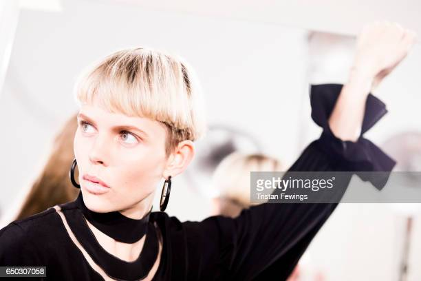 A model is seen backstage ahead of the Fendi show during Milan Fashion Week Fall/Winter 2017/18 on February 23 2017 in Milan Italy